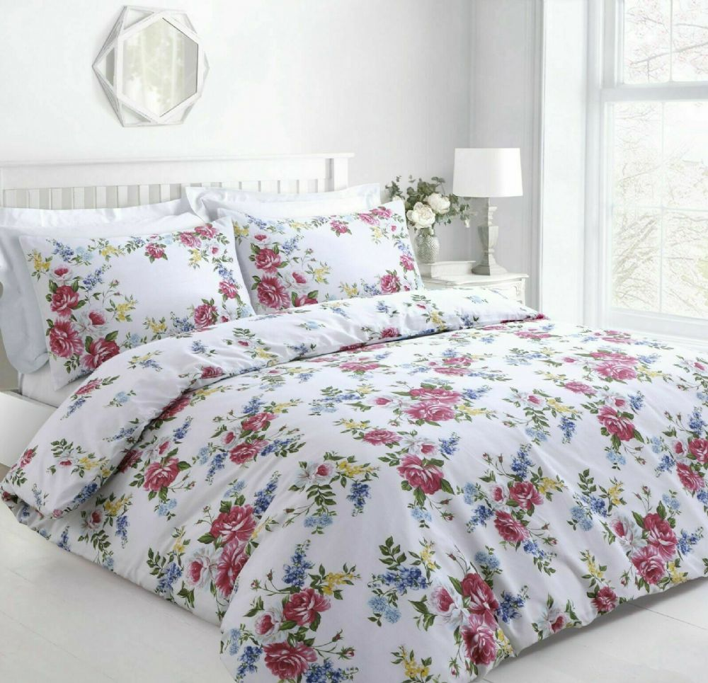 VINTAGE FLORAL BEDDING PRINTED DUVET COVER & PILLOWCASE ENGLISH ROSES PINK WHITE